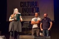 Presentación del festival Cultura Inquieta y de la Vigilia Poética, a cargo del concejal de Cultura de Getafe, Pablo Martínez, el director del festival, Juan Yuste, y la directora del Centro de Poesía José Hierro, Tacha Romero