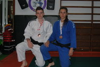 Héctor Blanco y Sara Chavero con sus medallas de bronce