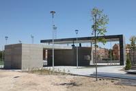 Aspecto de las obras de remodelación del polideportivo de El Bercial